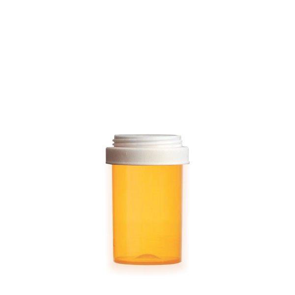 20 Dram Premium Pill Bottles with Reversible Dual Purpose Caps, Amber