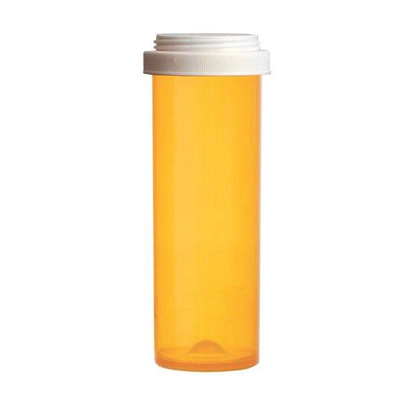 60 Dram Premium Pill Bottles with Reversible Dual Purpose Caps, Amber
