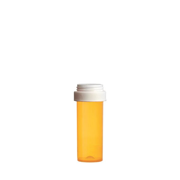 8 Dram Premium Pill Bottles with Reversible Dual Purpose Caps, Amber