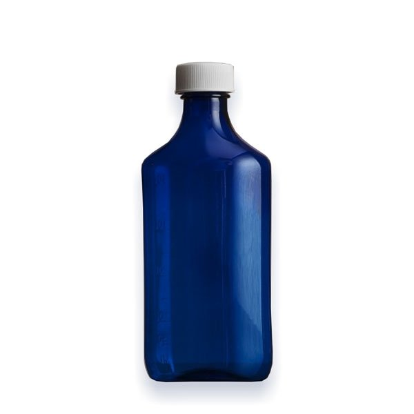 12 oz Medicine Bottles with Child-Resistant Caps, Blue