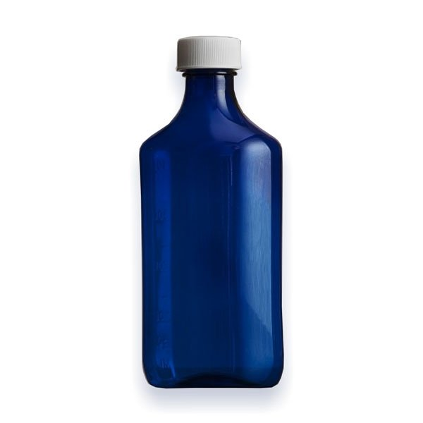 16 oz Medicine Bottles with Child-Resistant Caps, Blue