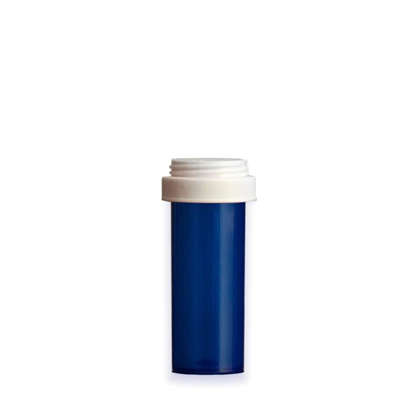 16 Dram Premium Pill Bottles with Reversible Dual Purpose Caps, Blue