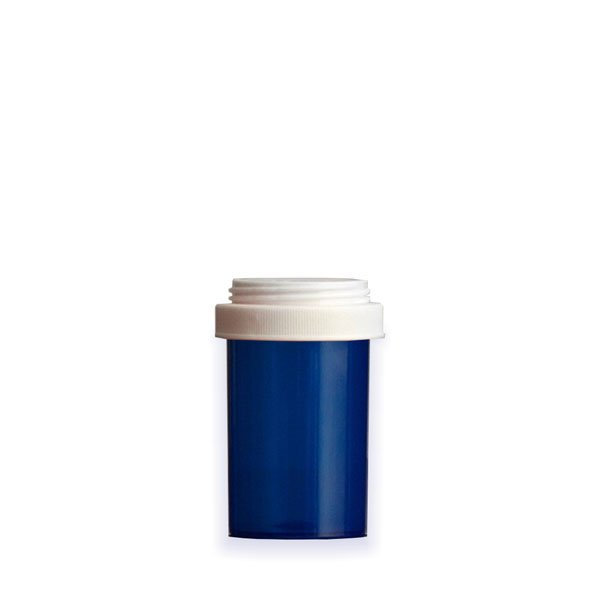 20 Dram Premium Pill Bottles with Reversible Dual Purpose Caps, Blue