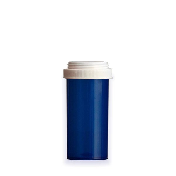 30 Dram Premium Pill Bottles with Reversible Dual Purpose Caps, Blue