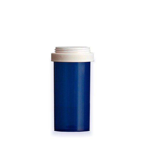 40 Dram Premium Pill Bottles with Reversible Dual Purpose Caps, Blue
