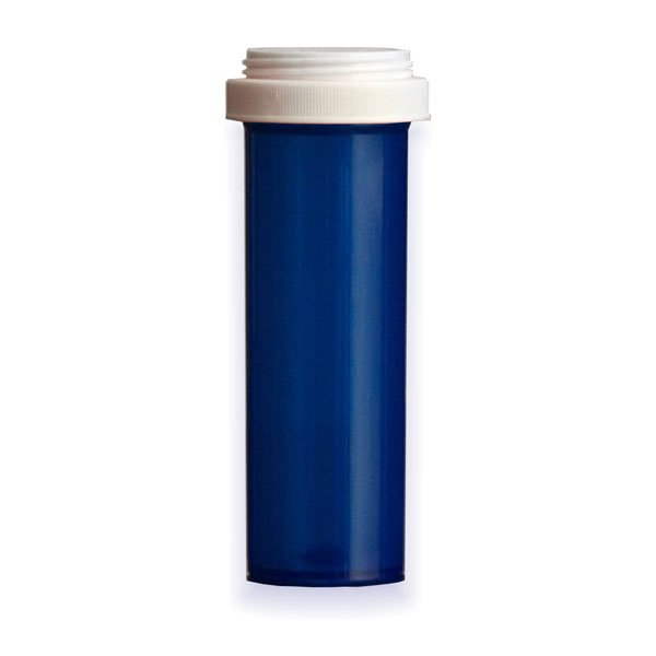 60 Dram Premium Pill Bottles with Reversible Dual Purpose Caps, Blue