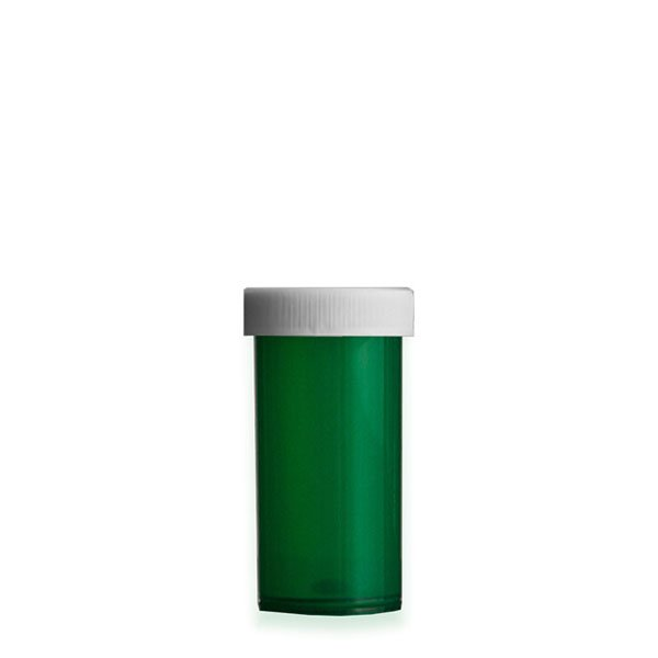 13 Dram Premium Pill Bottles with Child Resistant Caps, Green