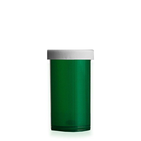 40 Dram Premium Pill Bottles with Child Resistant Caps, Green