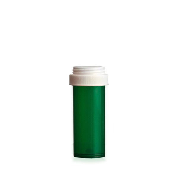16 Dram Premium Pill Bottles with Reversible Dual Purpose Caps, Green