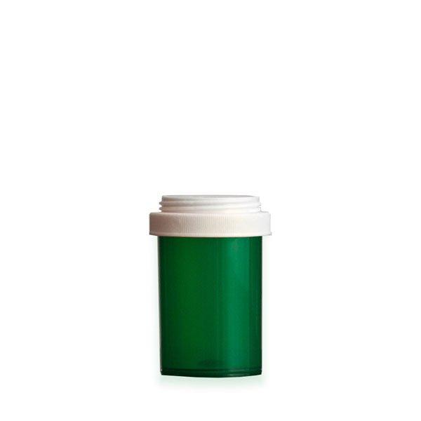 20 Dram Premium Pill Bottles with Reversible Dual Purpose Caps, Green