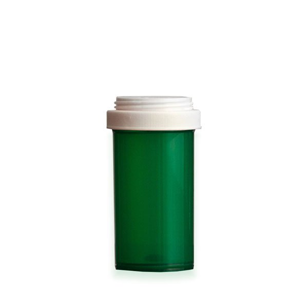 40 Dram Premium Pill Bottles with Reversible Dual Purpose Caps, Green