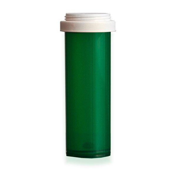 60 Dram Premium Pill Bottles with Reversible Dual Purpose Caps, Green