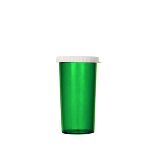 40 Dram Pill Bottles with Snap Caps, Green