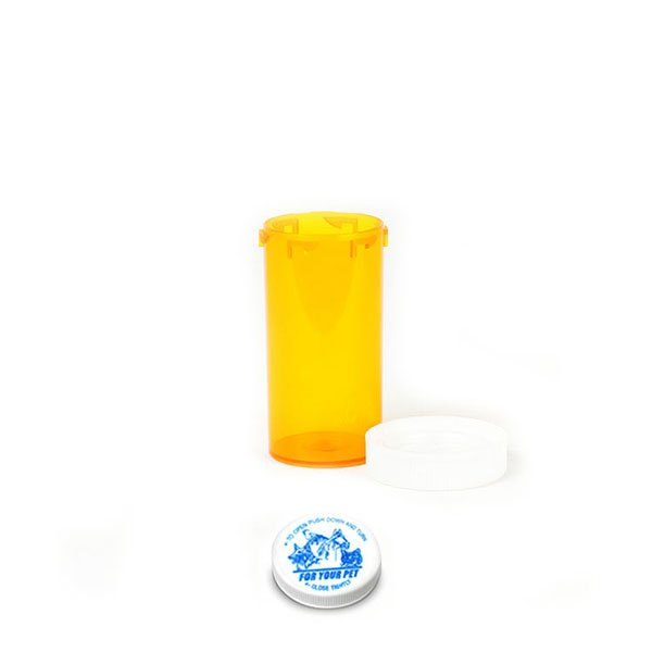 13 Dram Veterinary Prescription Vials with Child Resistant Caps, Amber