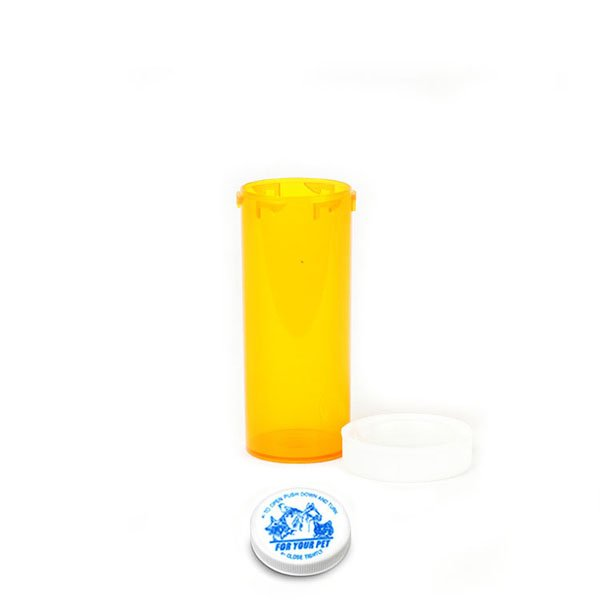 16 Dram Veterinary Prescription Vials with Child Resistant Caps, Amber