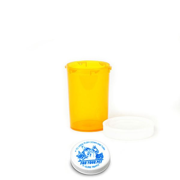 20 Dram Veterinary Prescription Vials with Child Resistant Caps, Amber