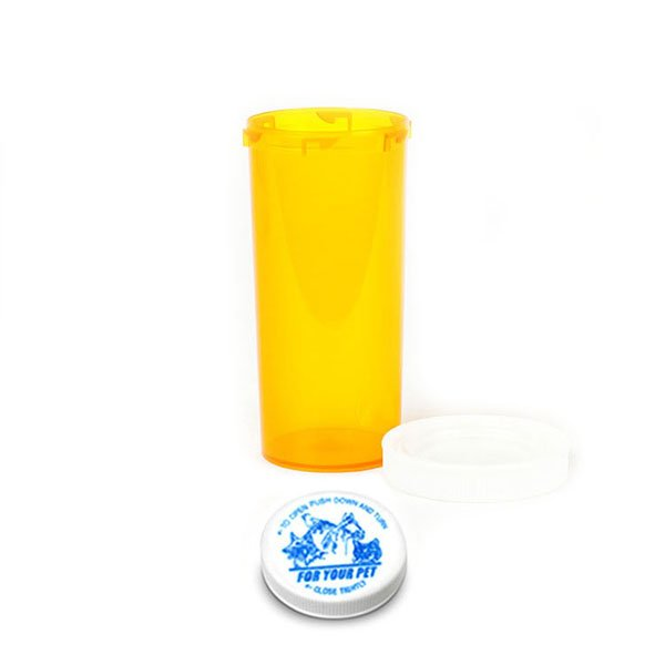 30 Dram Veterinary Prescription Vials with Child Resistant Caps, Amber