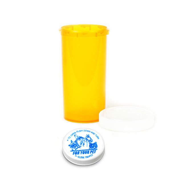 40 Dram Veterinary Prescription Vials with Child Resistant Caps, Amber