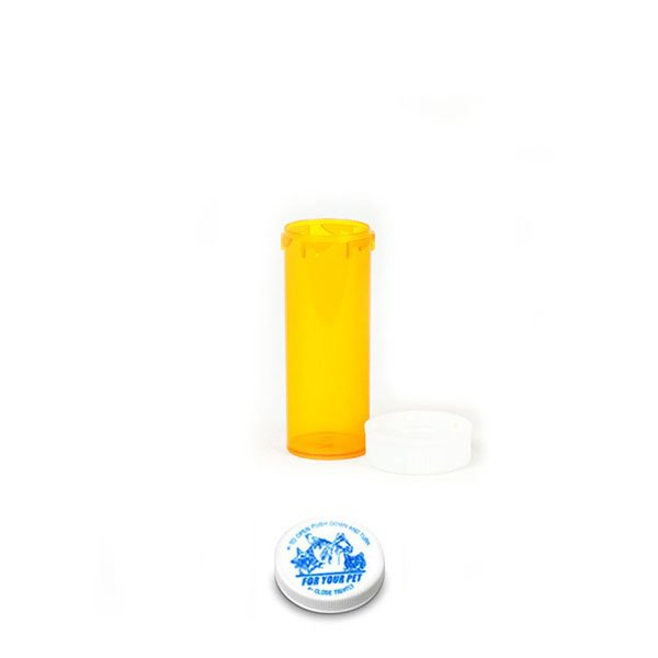 6 Dram Veterinary Prescription Vials with Child Resistant Caps, Amber