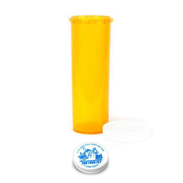 60 Dram Veterinary Prescription Vials with Child Resistant Caps, Amber