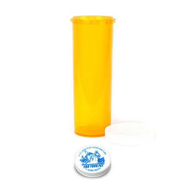 60 Dram Veterinary Prescription Vials with Child Resistant Caps, Amber
