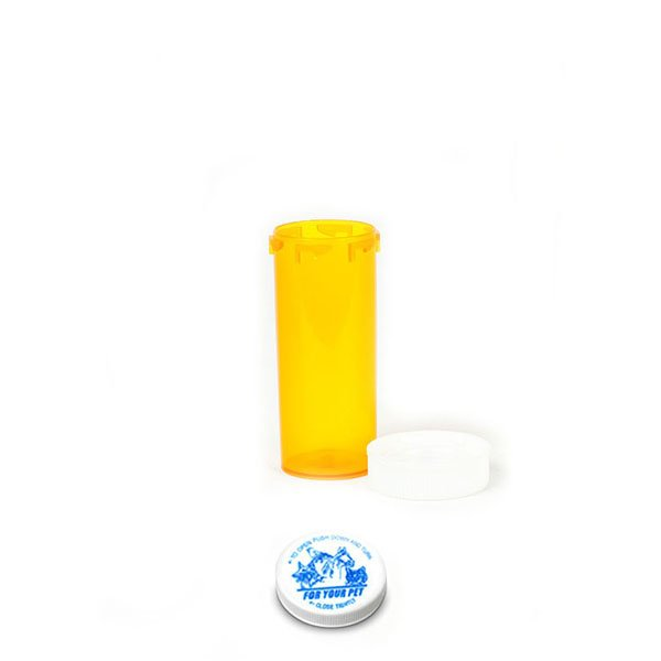 8 Dram Veterinary Prescription Vials with Child Resistant Caps, Amber