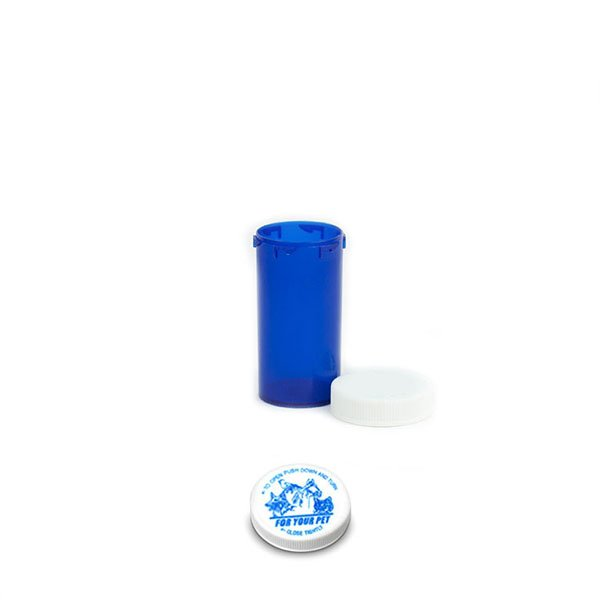 13 Dram Veterinary Prescription Vials with Child Resistant Caps, Blue