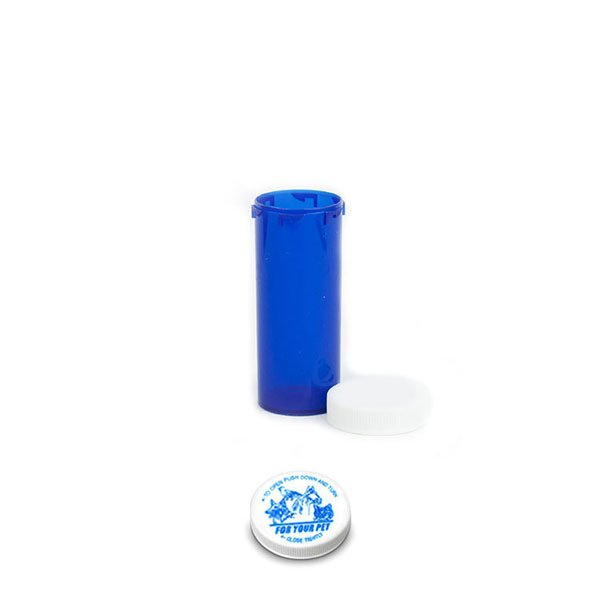 16 Dram Veterinary Prescription Vials with Child Resistant Caps, Blue