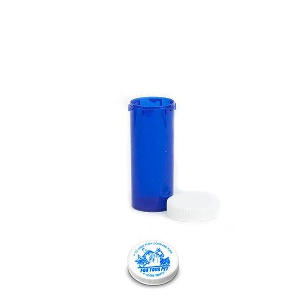16 Dram Veterinary Prescription Vials with Child Resistant Caps, Blue