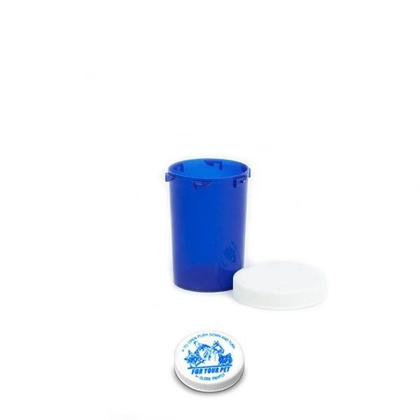 20 Dram Veterinary Prescription Vials with Child Resistant Caps, Blue