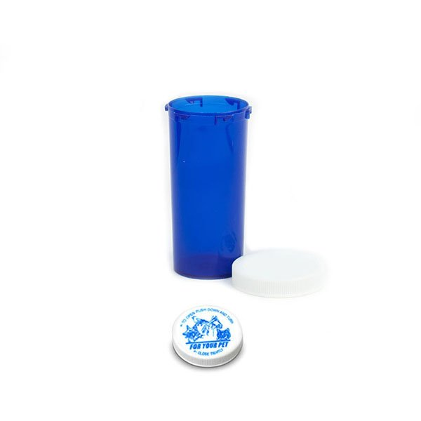 30 Dram Veterinary Prescription Vials with Child Resistant Caps, Blue