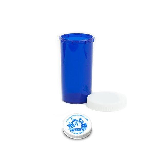 40 Dram Veterinary Prescription Vials with Child Resistant Caps, Blue