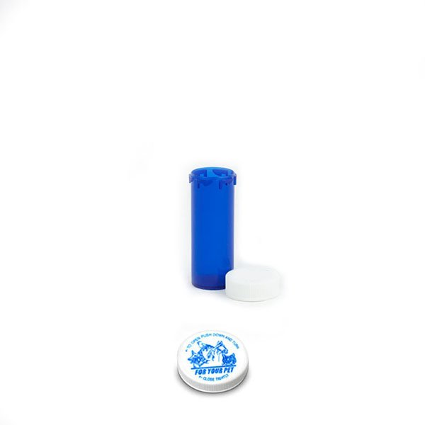 6 Dram Veterinary Prescription Vials with Child Resistant Caps, Blue