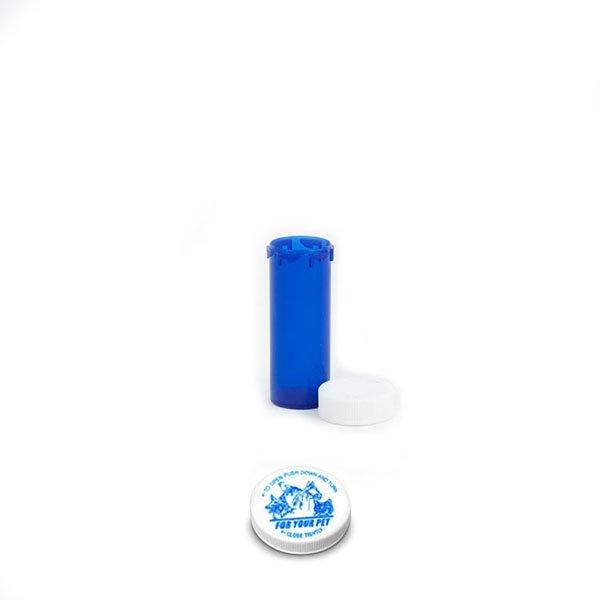 6 Dram Veterinary Prescription Vials with Child Resistant Caps, Blue