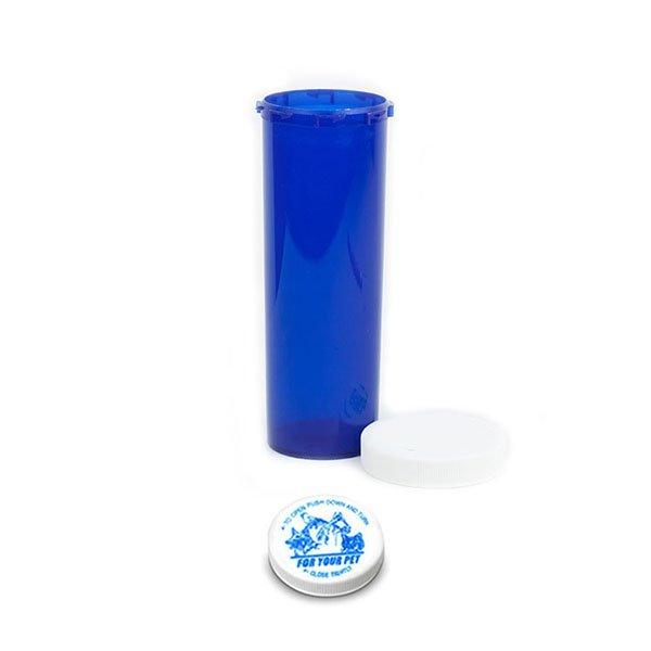 60 Dram Veterinary Prescription Vials with Child Resistant Caps, Blue