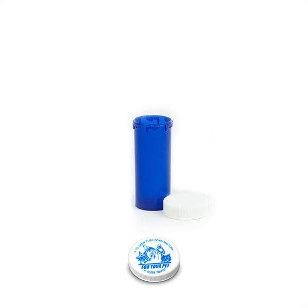 8 Dram Veterinary Prescription Vials with Child Resistant Caps, Blue