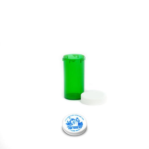 13 Dram Veterinary Prescription Vials with Child Resistant Caps, Green