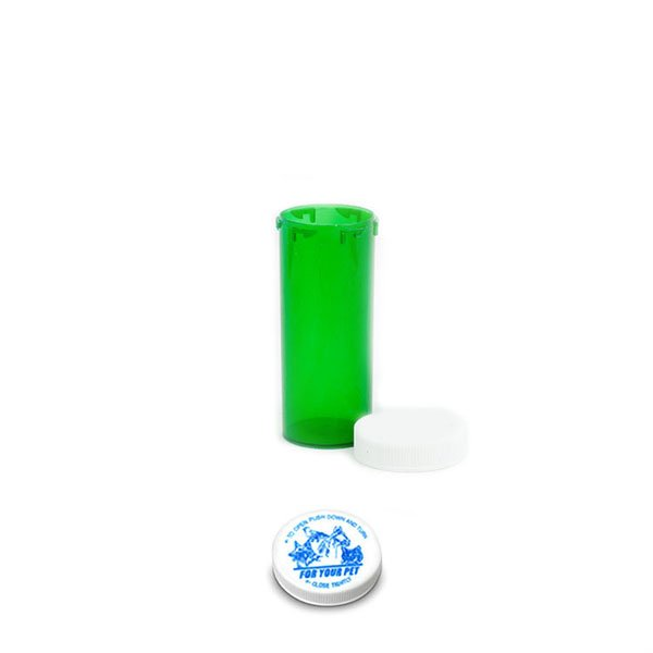 16 Dram Veterinary Prescription Vials with Child Resistant Caps, Green