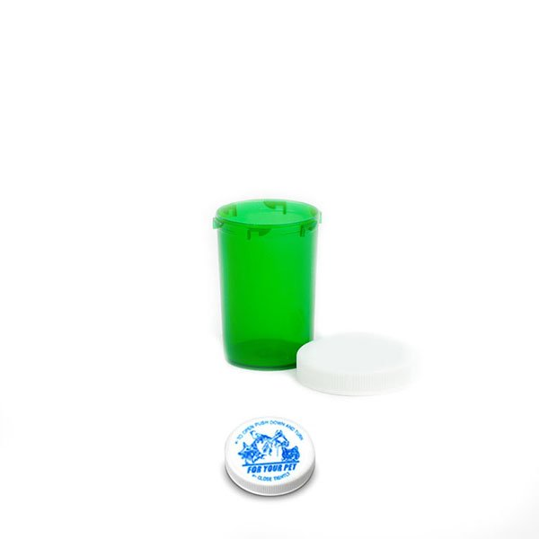 20 Dram Veterinary Prescription Vials with Child Resistant Caps, Green