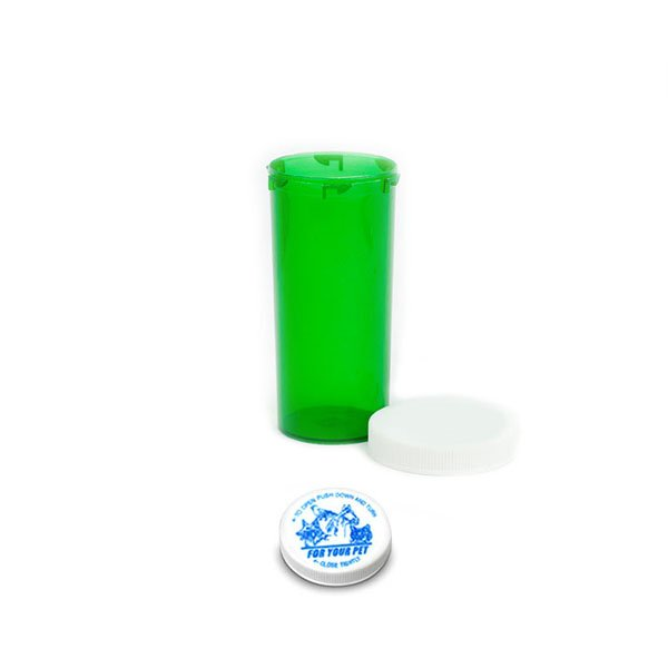 30 Dram Veterinary Prescription Vials with Child Resistant Caps, Green