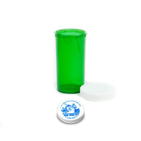 40 Dram Veterinary Prescription Vials with Child Resistant Caps, Green