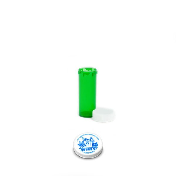 6 Dram Veterinary Prescription Vials with Child Resistant Caps, Green