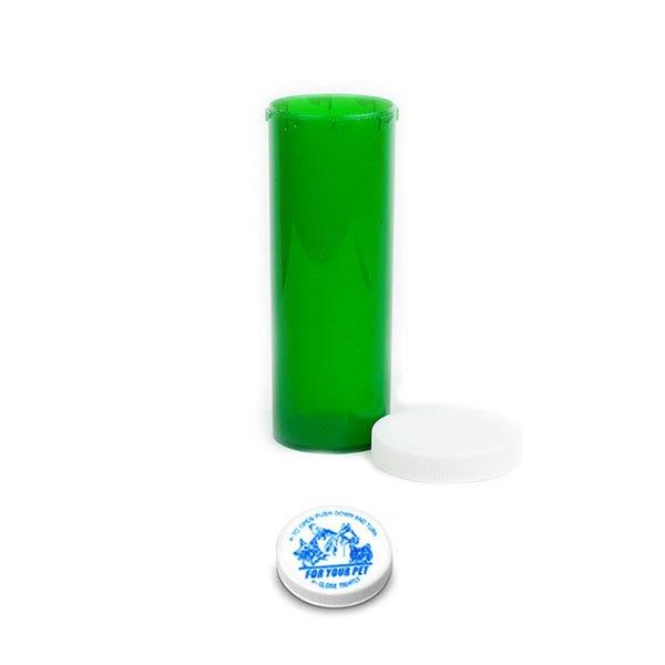 60 Dram Veterinary Prescription Vials with Child Resistant Caps, Green