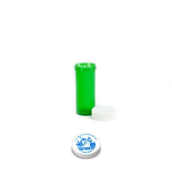 8 Dram Veterinary Prescription Vials with Child Resistant Caps, Green