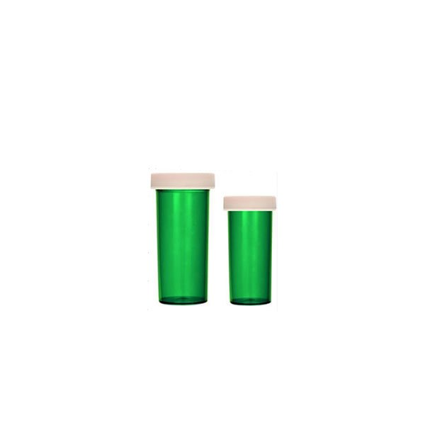 Green ScriptPro Approved Vials with Push and Turn Child-Resistant Caps