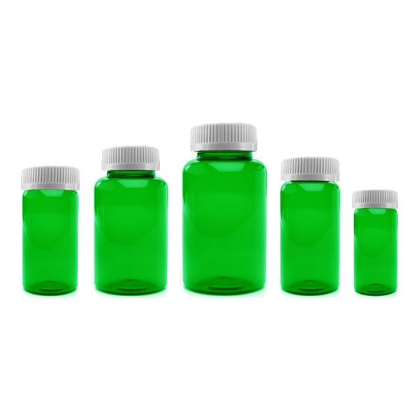 Prescription Vial Packer Pill Bottles: Green Color
