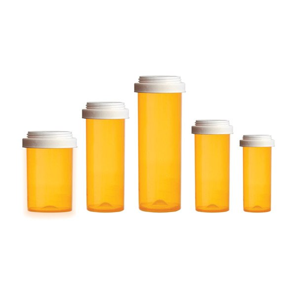 Reversible Lid Pill Bottles: Amber Color