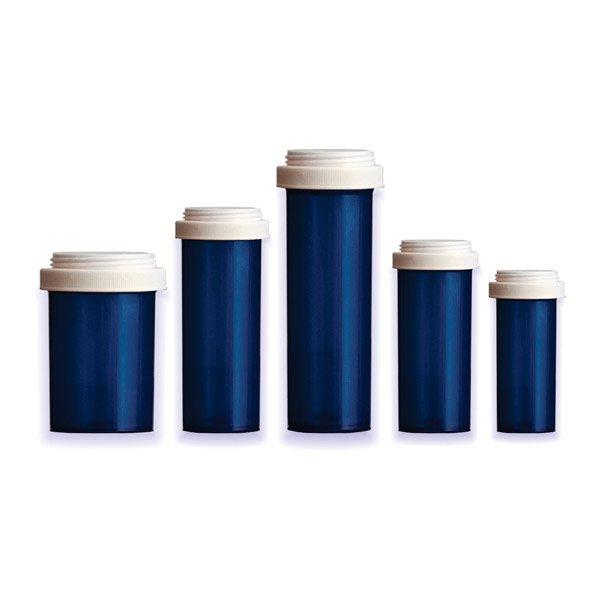 Reversible Lid Pill Bottles: Blue Color