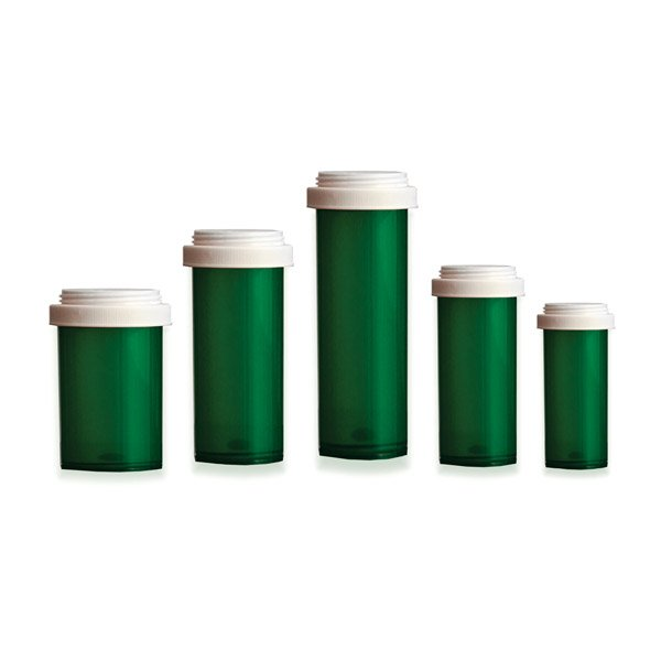 Reversible Lid Pill Bottles: Green Color