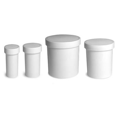 Jars with Lids - White Plastic Ointment Jars with Screw on Lids - Straight Sided Cream Jars